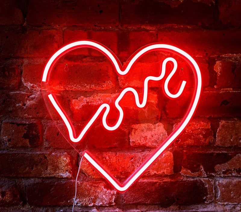 "14'-x-14'-inch-LED-Neon-Red-""Love""-Heart-Wall-Sign-for-Cool-Light,-Wal"