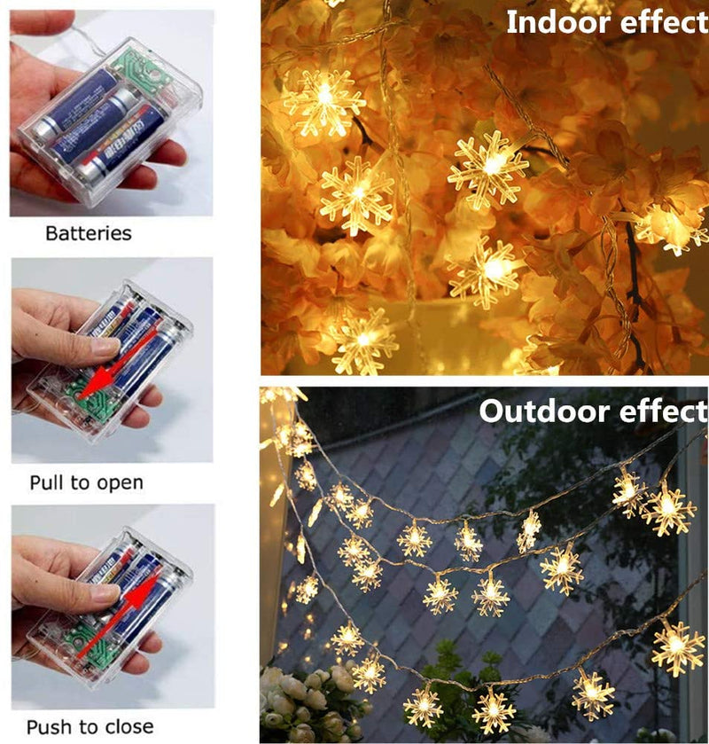 Christmas-String-Lights,-16-ft-40-LED-Fairy-Lights-Battery-Operated-Waterproof-for-Xmas-Garden-Patio-Bedroom-Party-Decor-Indoor-Outdoor-Celebration-Lighting,-Warm-White-(Snowflake)