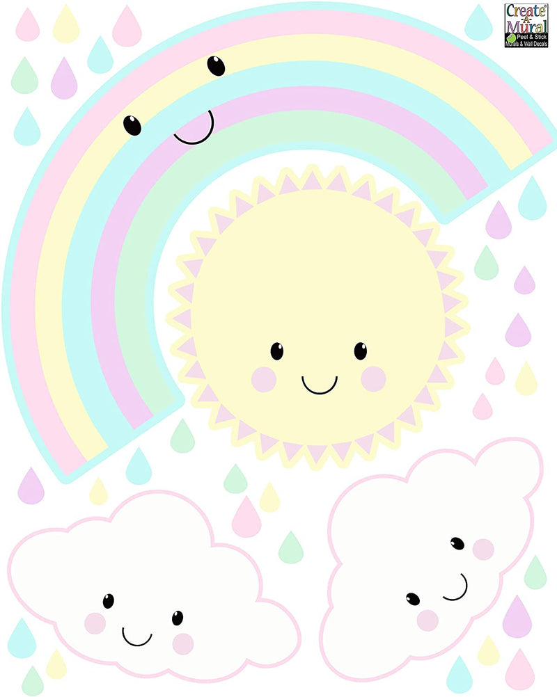 Cute-Kawaii-Baby-Nursery-Wall-Decals-Decor-Smiley-Rainbow-Sun-Clouds-K