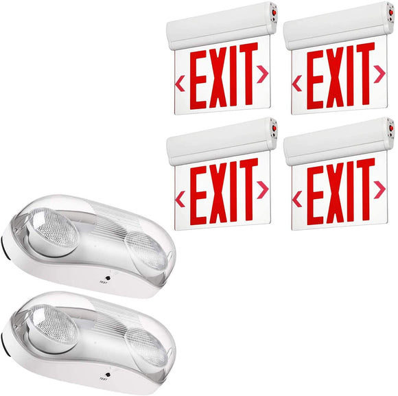 LED-Outdoor-Emergency-Light-Bundle-LED-Red-Exit-Sign,-2-Pack-LED-Wet-L