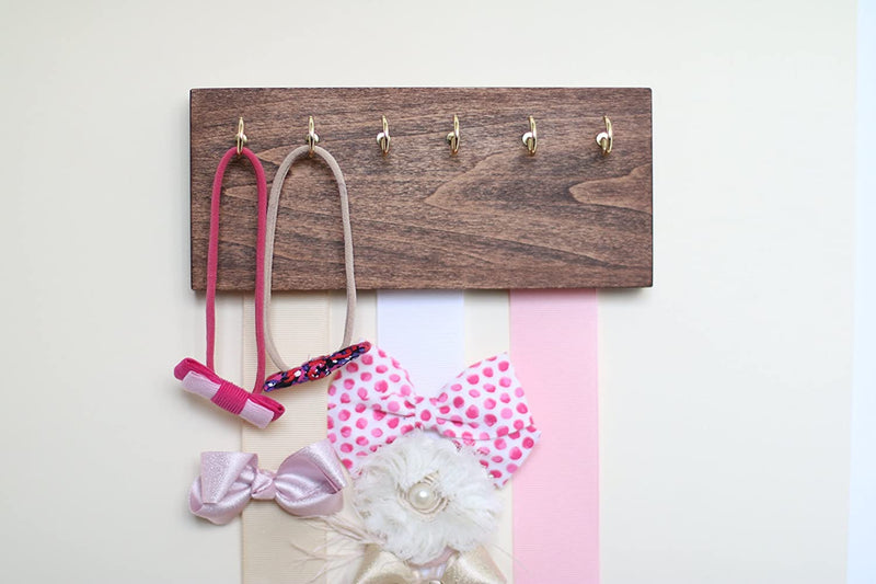 Dark-walnut-Wood-Ribbon-Bow-Organizer-&-Headband-Holder-/-Poplar-Plaqu