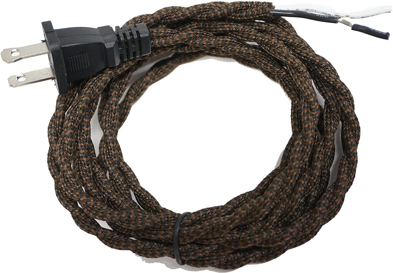 Twisted-Rayon-Cloth-Covered-Electric-Lamp-Cord-with-Polarized-End-Plug