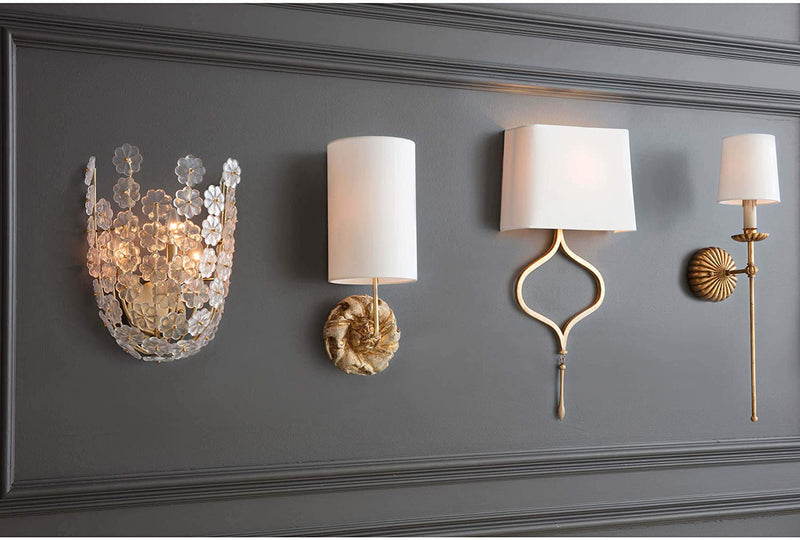 Antique-Gold-Leaf-Clove-Single-Metal-Decorative-Wall-Sconce-|-Single-S