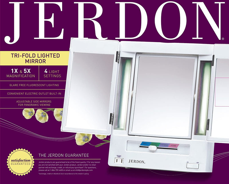 Tri-Fold-Two-Sided-Lighted-Makeup-Mirror-with-5x-Magnification,-White-