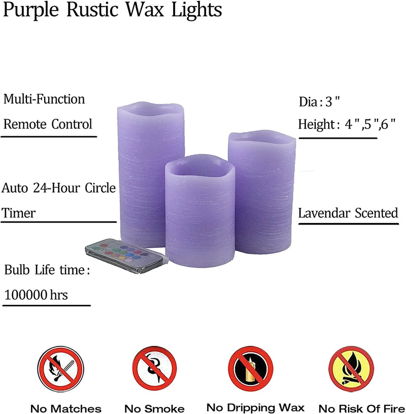 Purple-Flameless-Candles-Gift-Set-of-3--Real-Wax-Rustic-Pillar-Candles