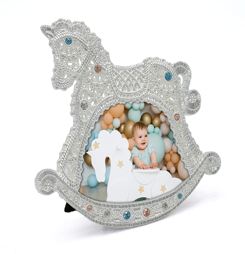 MIMOSA-MOMENTS-Baby-Rocking-Horse-3X3-Silver-Metal-Picture-Frame-with-