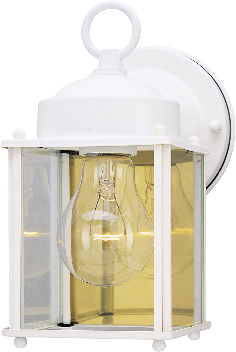 ,-White-6697100-One-Light-Exterior-Wall-Lantern,-Finish-on-Steel-with-