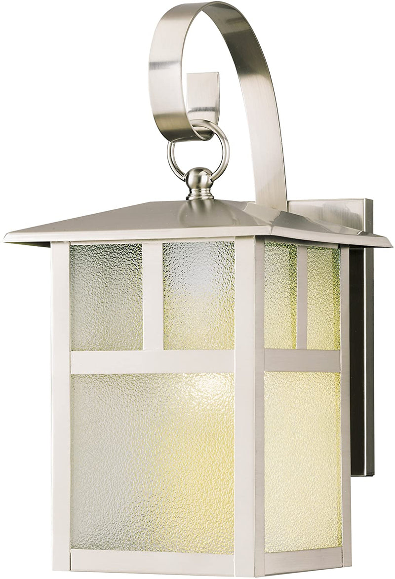 6991900-One-Light-Exterior-Wall-Lantern,-Brushed-Nickel-Finish-on-Stee