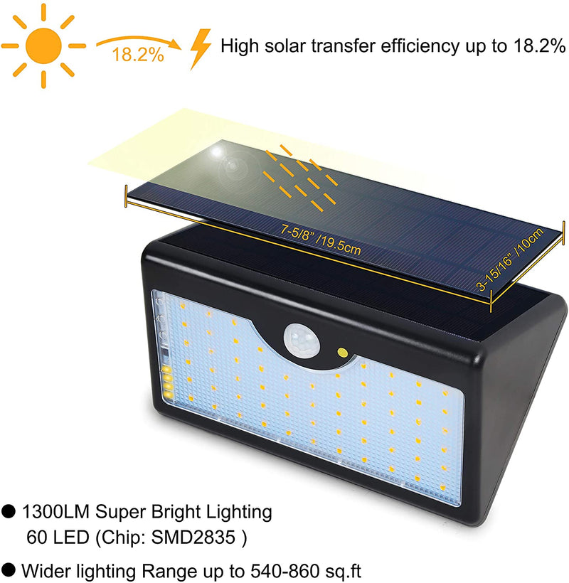 Solar-Light-Outdoor-with-Remote-Control,-60-LED-1300LM-5-Mode-Wireless