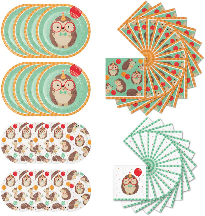 Hedgehog-Party-Bundle-|-Dinner-&-Dessert-Plates,-Luncheon-&-Beverage-N