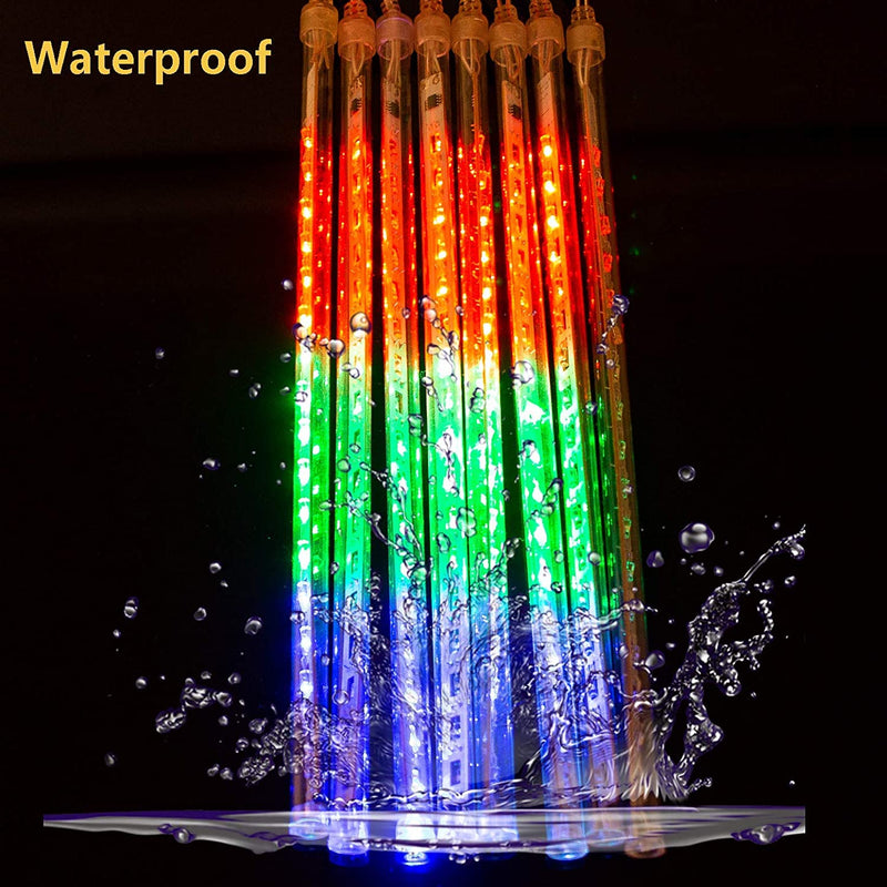 LED-Meteor-Shower-Rain-Lights,30cm-8Tubes-144leds,Outdoor-String-Lights,Waterproof-Garden-Lights-Snow-Falling-Raindrop-Cascading-Light-for-Holiday-Wedding-Xmas-Tree-Decor,Colorful