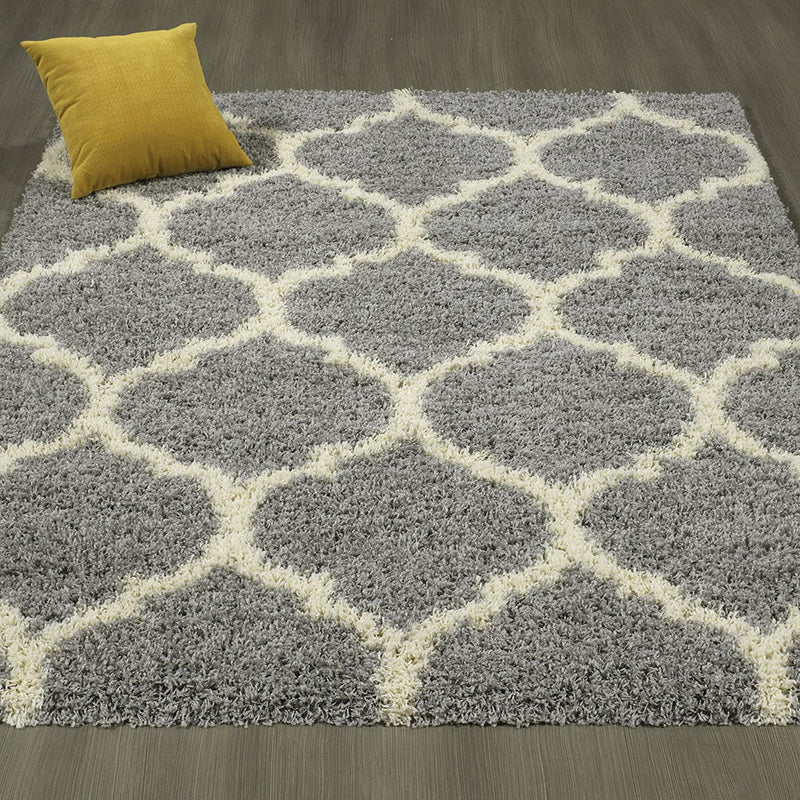 Sweet-Home-Stores-Shaggy-Rug,-5'3'X7',-Gray-Trellis