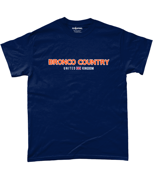 Denver 'Bronco Country' UK Pick 6 Apparel T-Shirt - 3 Colours - Pick 6 Apparel