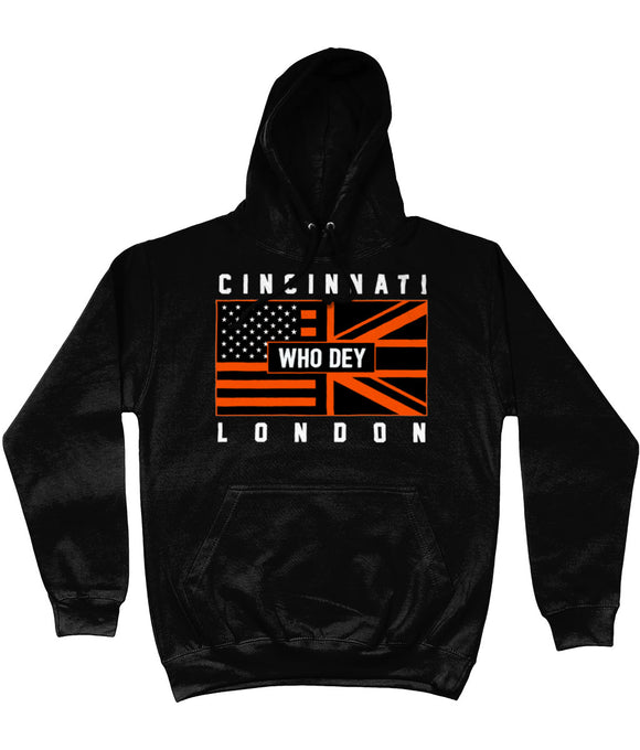 Cincinnati Pro Flag UK Who Dey Pick 6 Apparel Hoodie - 3 Colours - Pick 6 Apparel