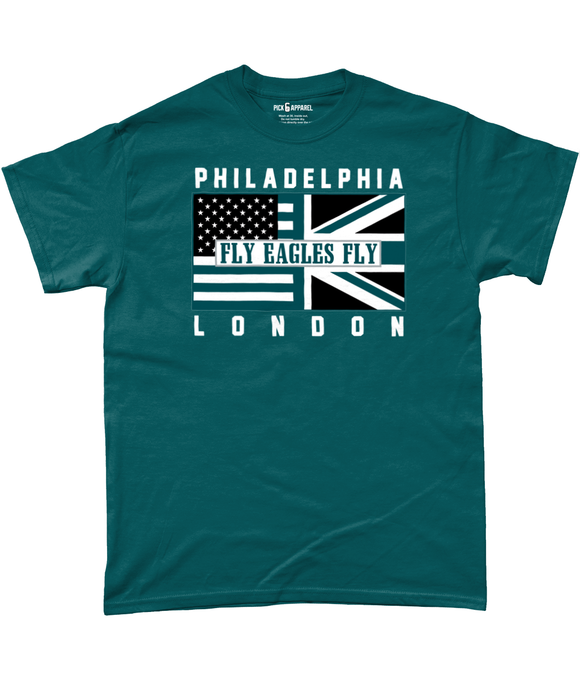 Philadelphia Pro Flag UK Fly Eagles Fly Pick 6 Apparel T-Shirt - 2 Colours - Pick 6 Apparel
