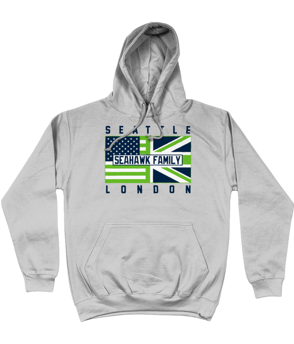 Seattle Pro Flag UK 'Seahawk Family' Pick 6 Apparel Hoodie - Grey - Pick 6 Apparel