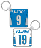 Detroit Player Jersey Custom Personalised Link Up Keyring - Pick 6 Apparel