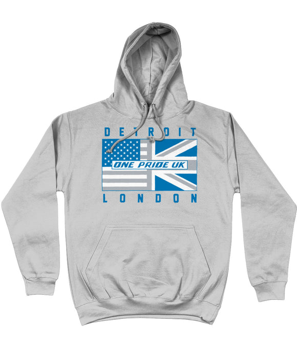 Detroit Pro Flag One Pride UK Pick 6 Apparel Hoodie - Grey - Pick 6 Apparel