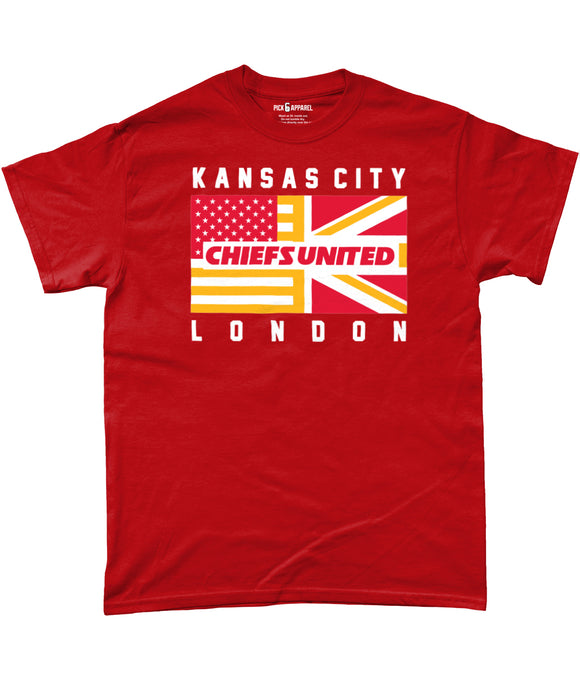 Kansas City Pro Flag UK Chiefs United Pick 6 Apparel T-Shirt - 2 Colours - Pick 6 Apparel