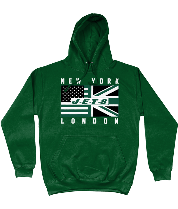 NYJ Pro Flag J - E - T - S UK Pick 6 Apparel Hoodie - 2 Colours - Pick 6 Apparel