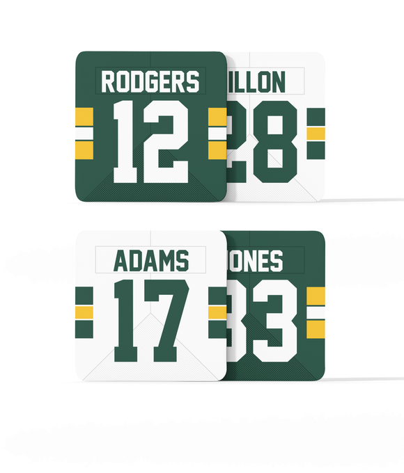 Green Bay Custom Jersey - Drinks Coaster Bundle BUY 2 GET 2 FREE - Pick 6 Apparel