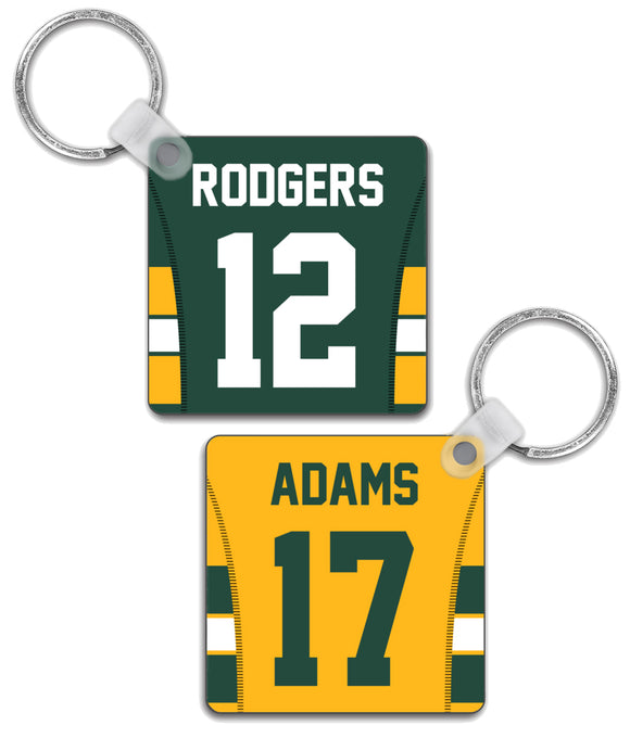 Green Bay Player Jersey Custom Personalised Link Up Keyring - Pick 6 Apparel