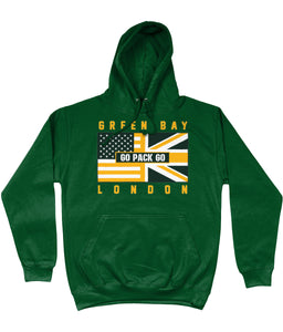 Green Bay Pro Flag UK Go Pack Go Pick 6 Apparel Hoodie - Green - Pick 6 Apparel