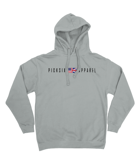 Pick 6 Apparel Worded Chest Logo Cotton Hoodie - Grey - Pick 6 Apparel