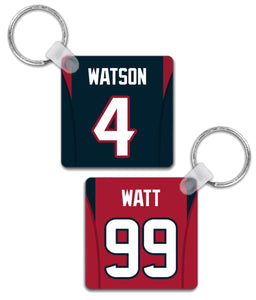 Houston Player Jersey Custom Personalised Link Up Keyring - Pick 6 Apparel