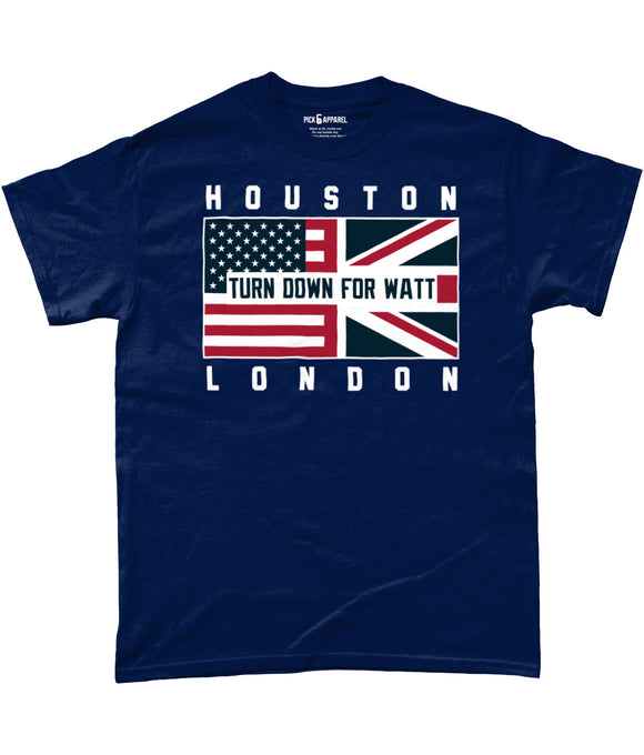 Houston Pro Flag UK 'Turn Down For Watt' Pick 6 T-Shirt - 3 Colours - Pick 6 Apparel