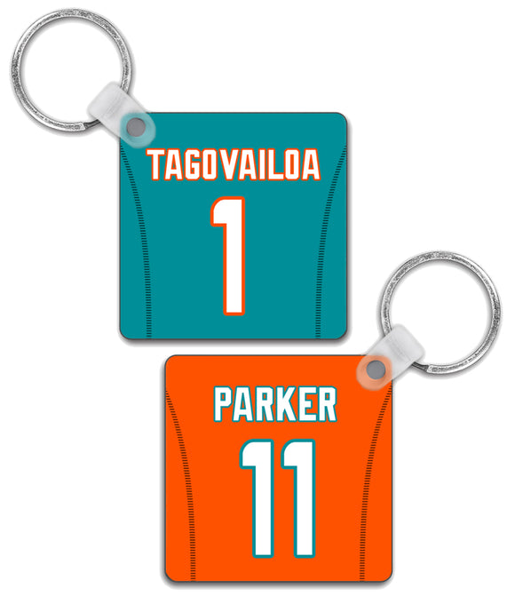 Miami Player Jersey Custom Personalised Link Up Keyring - Pick 6 Apparel