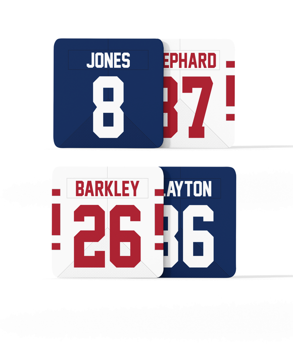 New York NYG Custom Jersey - Drinks Coaster Bundle BUY 2 GET 2 FREE - Pick 6 Apparel