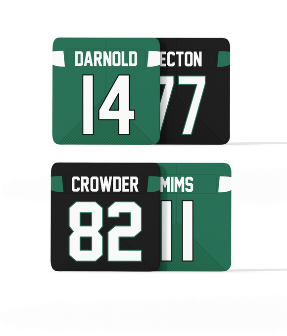 New York NYJ Custom Jersey - Drinks Coaster Bundle BUY 2 GET 2 FREE - Pick 6 Apparel