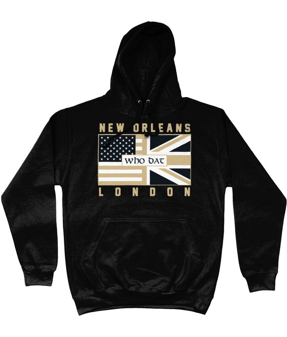 New Orleans Pro Flag UK Who Dat Pick 6 Apparel Hoodie - Black - Pick 6 Apparel
