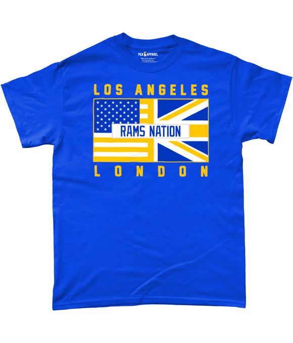 Los Angeles LAR Pro Flag 'Rams Nation' UK Pick 6 Apparel T-Shirt - 2 Colours - Pick 6 Apparel