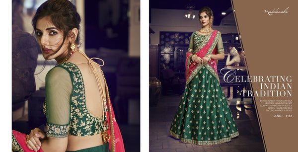 Bright Nakkashi NAK4161 Bridal Green Handloom Silk Pink Net Lehenga Choli - Fashion Nation