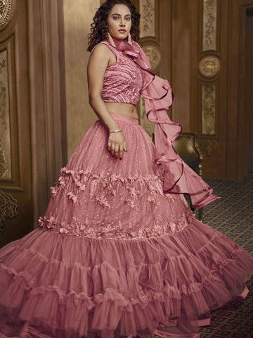 Indo Western TH059 Designer Cocktail Wear Pink Net Silk Lehenga Style Gown - Fashion Nation