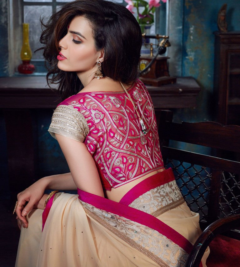 FS06 Designer Beige Pink Bemberg Georgette Saree - Fashion Nation.in