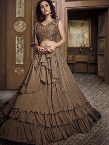 Trendy Indo Western TH060 Designer Cocktail Wear Brown Net Silk Lehenga Style Gown - Fashion Nation