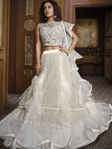 Delicate Indo Western TH061 Designer Cocktail Wear White Net Silk Lehenga Style Gown - Fashion Nation