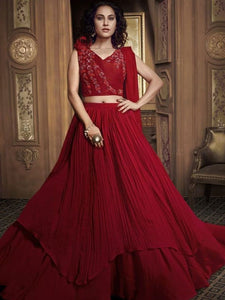 Fiery Indo Western TH062 Designer Cocktail Wear Red Silk Lehenga Style Gown - Fashion Nation.in