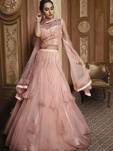 Dreamy Indo Western TH064 Designer Cocktail Wear Pink Net Silk Lehenga Style Gown - Fashion Nation.in