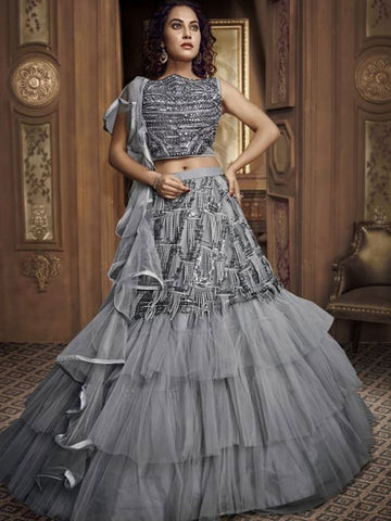 Sizzling Indo Western TH065 Designer Cocktail Wear Grey Net Silk Lehenga Style Gown - Fashion Nation.in
