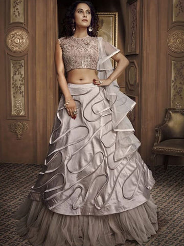 Trend Setter Indo Western TH067 Designer Cocktail Wear Silver Satin Silk Net Lehenga Style Gown - Fashion Nation.in