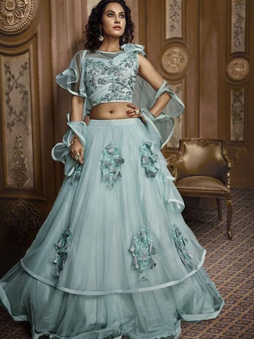 Unique Indo Western TH068 Designer Cocktail Wear Aqua Silk Net Lehenga Style Gown - Fashion Nation