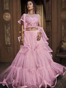 Ceremonial Indo Western TH069 Designer Cocktail Wear Pink Silk Net Lehenga Style Gown - Fashion Nation.in