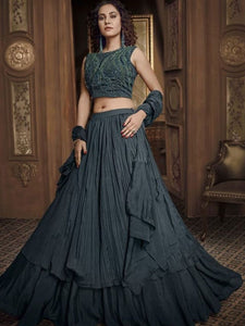 In Vogue Indo Western TH070 Designer Cocktail Wear Black Silk Lehenga Style Gown - Fashion Nation