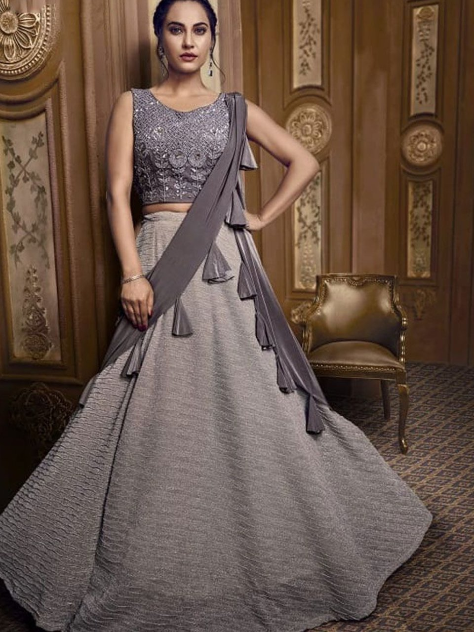 Glamorous Indo Western TH071 Designer Cocktail Wear Grey Silk Lehenga Style Gown - Fashion Nation