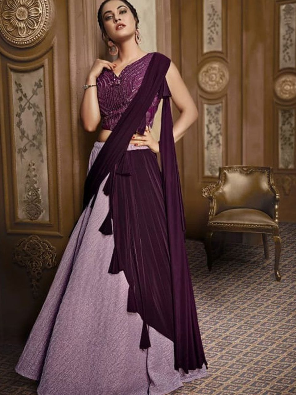 Fabulous Indo Western TH073 Designer Cocktail Wear Purple Silk Lehenga Style Gown - Fashion Nation