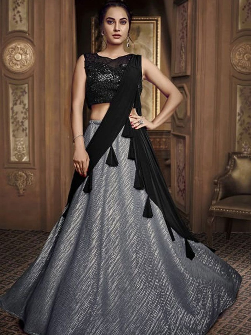 Splendid Indo Western TH075 Designer Cocktail Wear Silver Black Silk Lehenga Style Gown - Fashion Nation